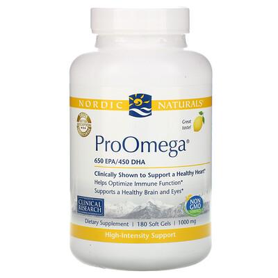 Купить Nordic Naturals ProOmega, со вкусом лимона, 1000мг, 180 мягких желатиновых капсул