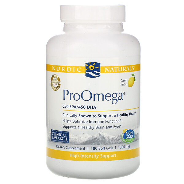 ProOmega, со вкусом лимона, 1000мг, 180 мягких желатиновых капсул