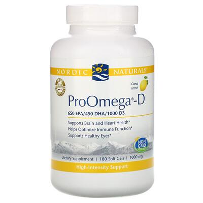 Купить Nordic Naturals ProOmega-D, со вкусом лимона, 180 мягких желатиновых капсул