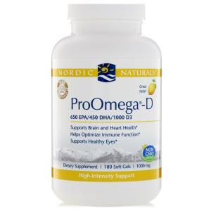 """Nordic Naturals, """"ПроОмега-D"""", пищевая добавка с омега-3 и витамином D3, с лимонным вкусом, 180 мягких желатиновых капсул с жидкостью"""