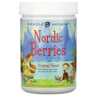 Купить Nordic Naturals Nordic Berries, мультивитаминные жевательные конфеты, с оригинальным вкусом, 200 жевательных таблеток в форме ягод
