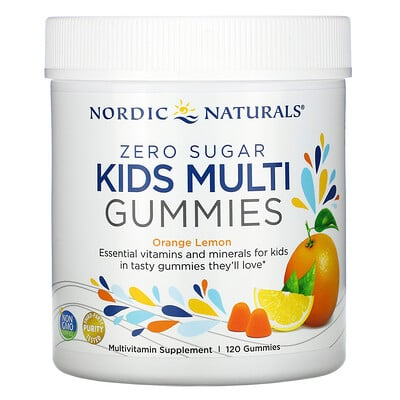 Nordic Naturals Zero Sugar, Kids Multi Gummies, Orange Lemon , 120 Gummies
