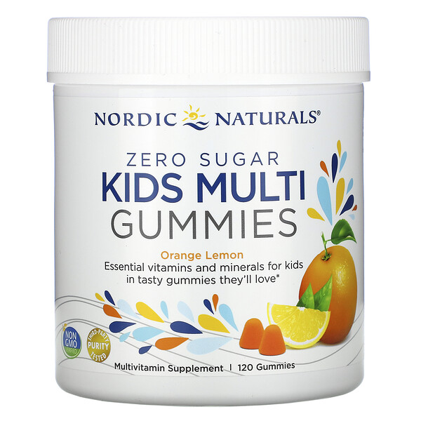 Nordic Naturals, Zero Sugar, Kids Multi Gummies, Orange Lemon , 120 Gummies