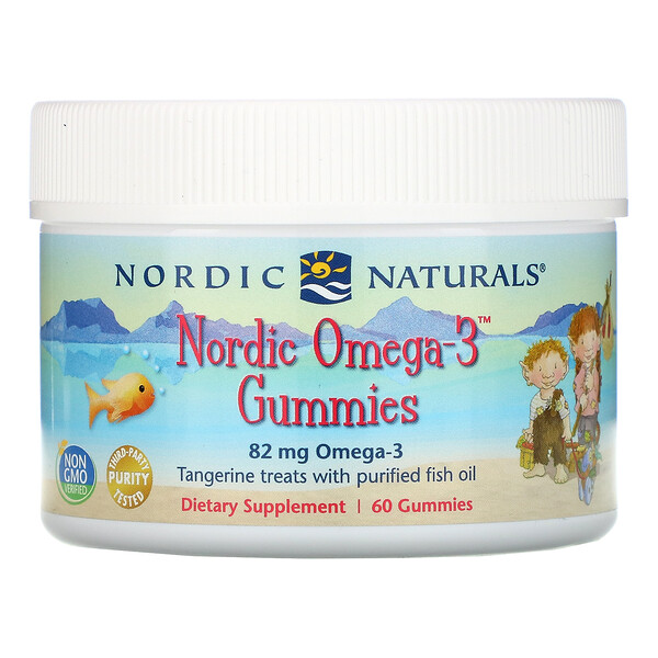 Nordic Omega-3 Gummies, Tangerine Treats, 82 mg, 60 Gummies