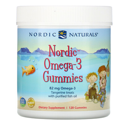 Купить Nordic Naturals Nordic Omega-3, жевательные конфеты со вкусом мандарина, 82 мг, 120 жевательных конфет
