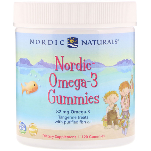 Nordic Omega-3 Gummies, Tangerine Treats, 82 mg, 120 Gummies
