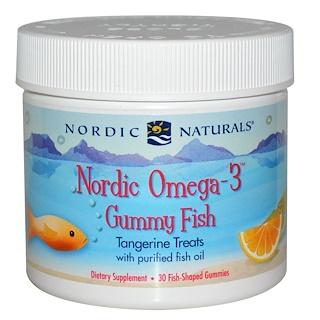 Nordic Naturals, Конфеты в виде рыбок от Nordic с омега-3, мандариновое угощение, 30 конфет