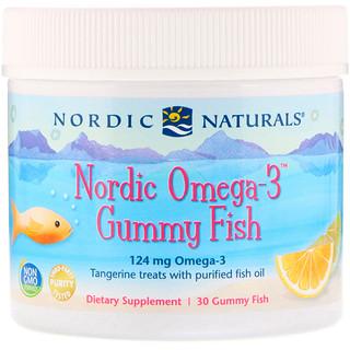 Nordic Naturals, علكات زيوت أسماك شمال أوروبا، بحمض أوميغا 3، بنكهة اليوسفي، 30 علكة على شكل سمكة