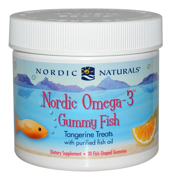 Nordic Naturals, Nordic Omega-3 Gummy Fish, Tangerine Treats, 30 Fish-Shaped Gummies
