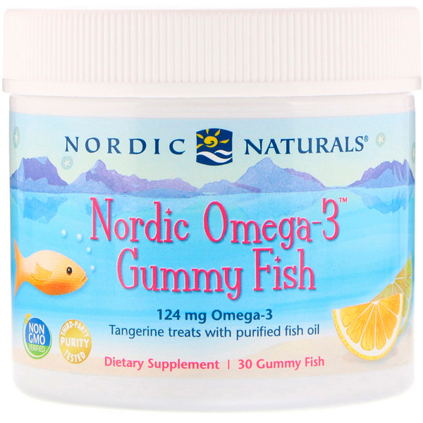 Nordic Naturals, Nordic Omega-3 Gummy Fish, Tangerine Treats, 124 mg, 30 Gummy Fish