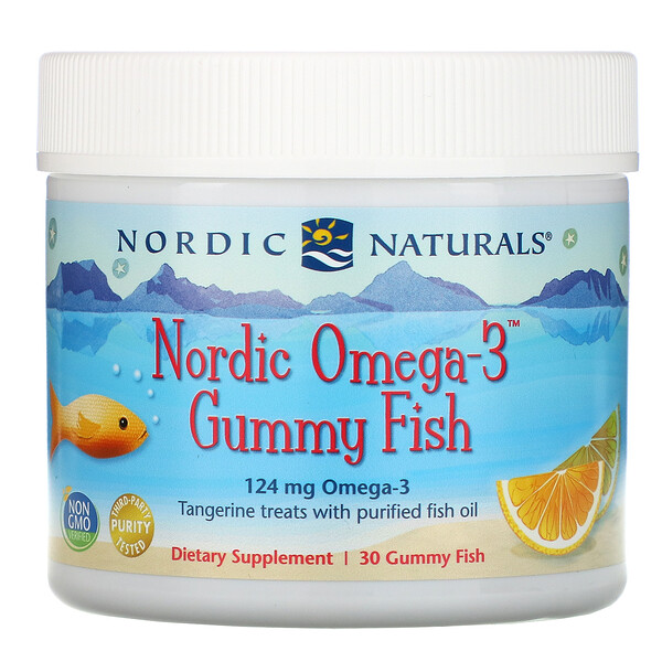 Nordic Omega-3 Gummy Fish, Tangerine Treats, 124 mg, 30 Gummy Fish
