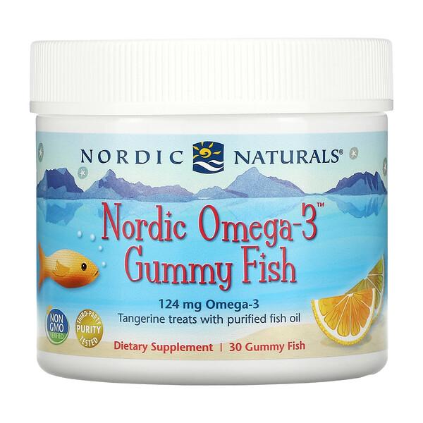 Nordic Omega-3 Gummy Fish, Tangerine Treats, 124 mg, 30 Gummy Fish