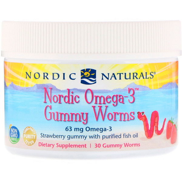 Nordic Naturals, Nordic Omega-3 Gummy Worms, Strawberry Gummy, 63 mg, 30 Gummy Worms