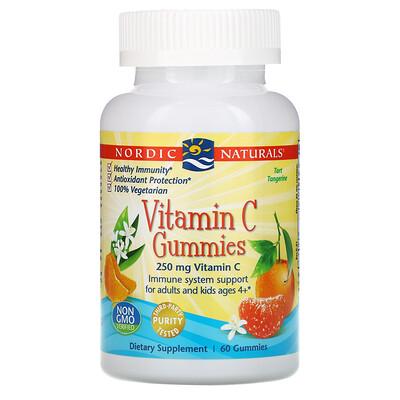 Купить Nordic Naturals Витамин C в форме жевательных мишек, со вкусом мандарина, 250 мг, 60 мишек