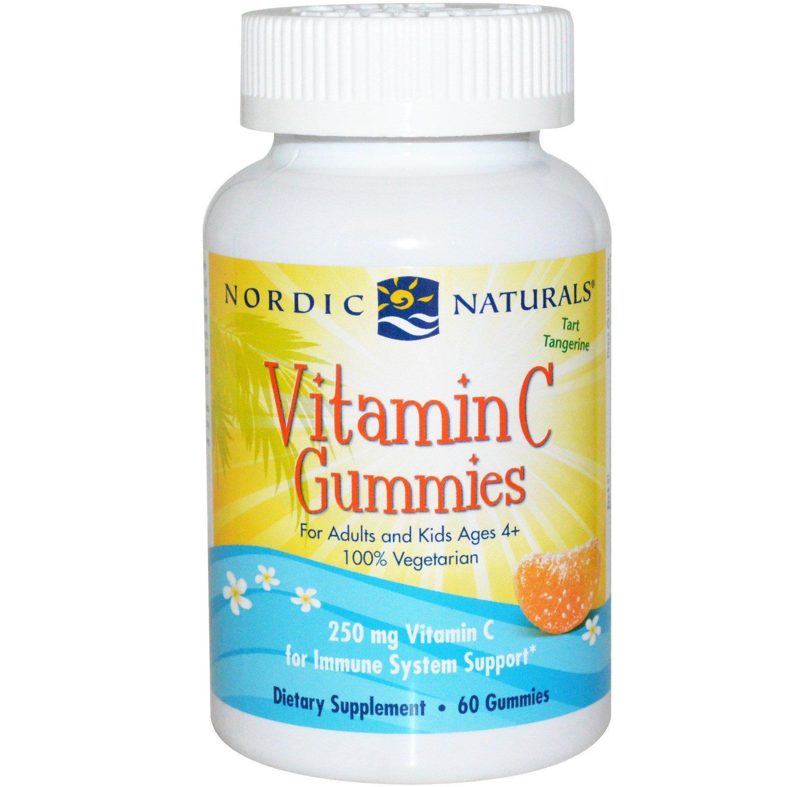 Nordic Naturals, Витамин C в форме жевательных мишек, со вкусом мандарина, 250 мг, 60 мишек