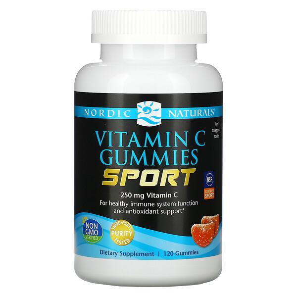 Vitamin C Gummies, Sport, 250 mg, Tart Tangerine Taste, 120 Gummies