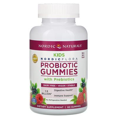 Nordic Naturals Жевательные таблетки с пробиотиками для детей, веселый ягодный пунш, 60 жевательных конфет