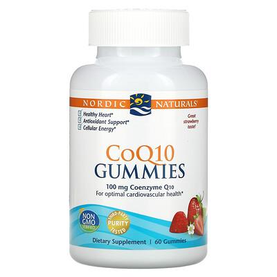 Nordic Naturals Гелевые конфетки CoQ10, клубника, 100 мг., 60 гелевых конфеток
