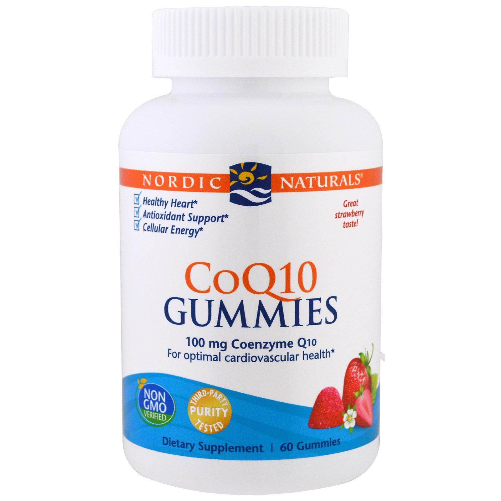 Nordic Naturals, Гелевые конфетки CoQ10, клубника, 100 мг., 60 гелевых конфеток