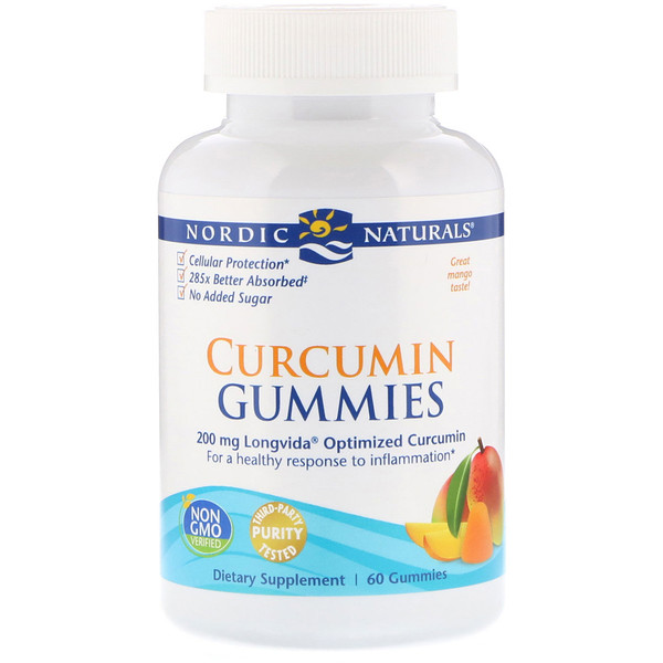 Curcumin Gummies, Mango, 200 mg, 60 Gummies