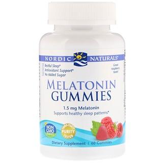 Nordic Naturals, Жевательные таблетки с мелатонином, малина, 1,5 мг, 60 жевательных таблеток