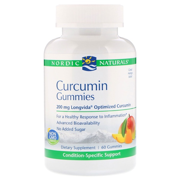 Nordic Naturals, Curcumin Gummies, Mango, 200 mg, 60 Gummies (Discontinued Item)
