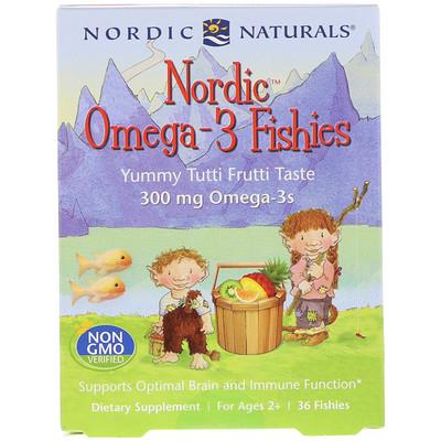 Nordic Omega-3 Fishies, Yummy Tutti Frutti Taste, For Ages 2+, 300 mg, 36 Fishies