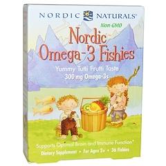 Nordic Naturals, 노르딕 오메가-3 물고기, 맛있는 과일 아이스크림 맛, 300 mg, 물고기 모양 36개입