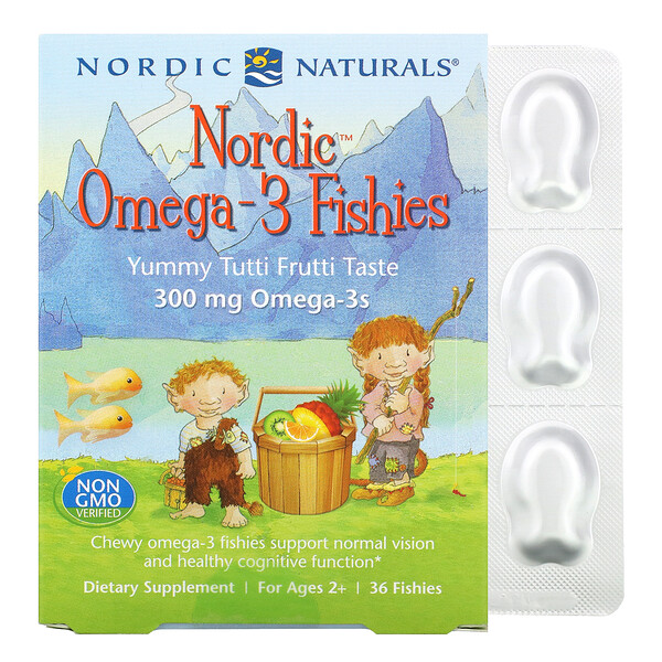 Nordic Omega-3 Fishies, For Ages 2+, Yummy Tutti Frutti Taste, 300 mg, 36 Fishies