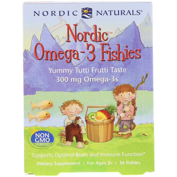 Nordic Naturals, Nordic Omega-3 Fishies, Yummy Tutti Frutti Taste, For Ages 2+, 300 mg, 36 Fishies