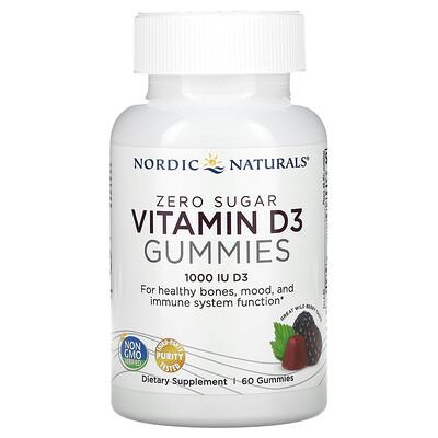 Купить Nordic Naturals Zero Sugar Vitamin D3 Gummies, Wild Berry, 1, 000 IU, 60 Gummies