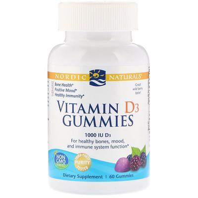 Жевательные таблетки с витамином D3, со вкусом лесных ягод, 1000 МЕ, 60 шт. цена 2017