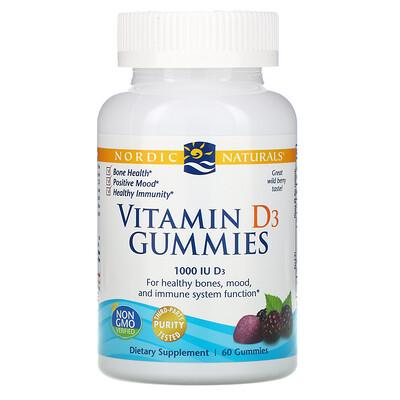 Nordic Naturals Жевательные таблетки с витамином D3, со вкусом лесных ягод, 1000 МЕ, 60 шт.
