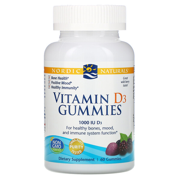 Vitamin D3 Gummies, Wild Berry, 1,000 IU, 60 Gummies