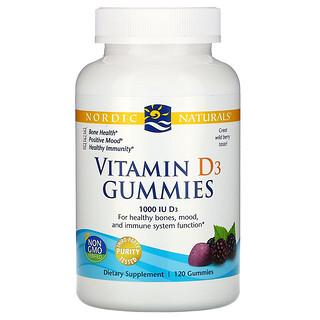 Nordic Naturals, жевательные таблетки с витаминомD3, со вкусом лесных ягод, 1000МЕ, 120шт.