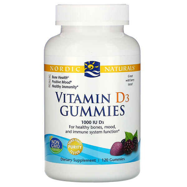 Nordic Naturals, Vitamin D3 Gummies, Wild Berry, 1000 IU, 120 Gummies