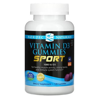 Купить Nordic Naturals Sport, Vitamin D3 Gummies, Wild Berry, 1, 000 IU, 120 Gummies