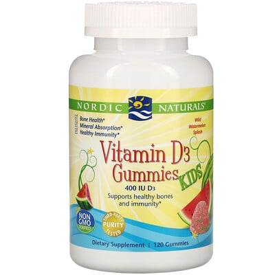 Nordic Naturals Vitamin D3 Gummies KIDS, Wild Watermelon Splash, 400 IU, 120 Gummies