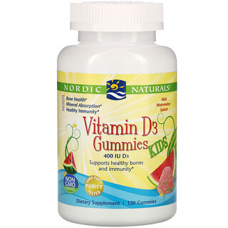 Nordic Naturals, жевательные таблетки с витаминомD3, дикий арбуз, 400МЕ, 120жевательных таблеток