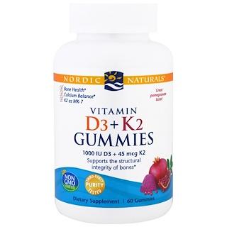Nordic Naturals, Vitamin D3 + K2 Gummies, Pomegranate, 60 Gummies