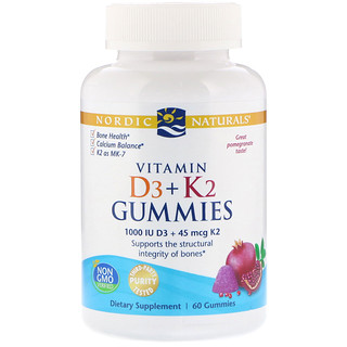Nordic Naturals, Vitamin D3 + K2 Gummies, Pomegranate, 60 Gummies