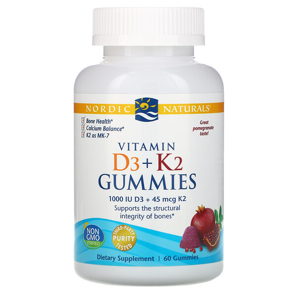 Nordic Naturals, Vitamin D3 + K2 Gummies, Pomegranate, 25 mcg (1,000 IU), 60 Gummies