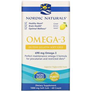 нордик Натуралс, Omega-3, Lemon, 1,000 mg, 60 Soft Gels отзывы покупателей