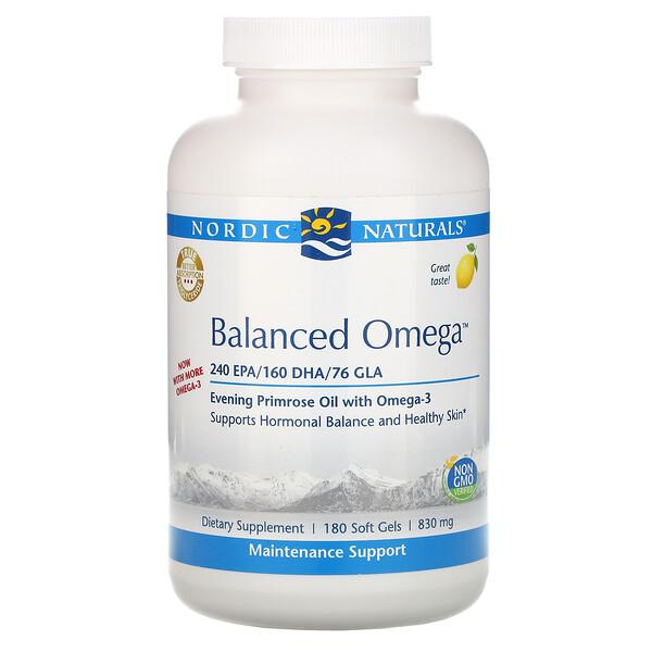 Balanced Omega, со вкусом лимона, 830 мг, 180 мягких желатиновых капсул