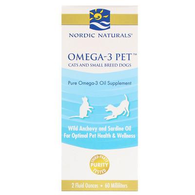 Купить Омега-3 для питомцев, для кошек и небольших собак, 2 жидких унции (60 мл)