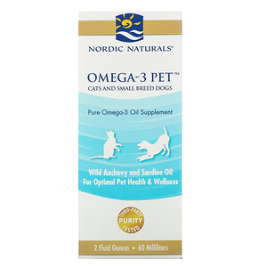 нордик Натуралс, Omega-3 Pet, Cats and Small Breed Dogs, 2 fl oz (60 ml) отзывы покупателей