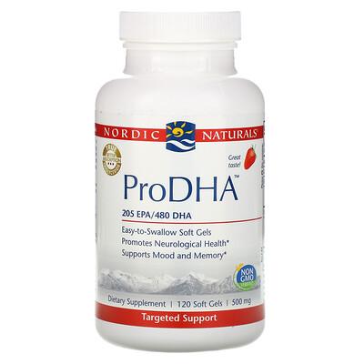 Купить Nordic Naturals ПроДГК, пищевая добавка с ДГК (DHA), с клубничным вкусом, 500 мг, 120 мягких желатиновых капсул с жидкостью