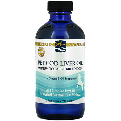 Nordic Naturals Pet Cod Liver Oil, Medium to Large Breed Dogs, 8 fl oz (237 ml)