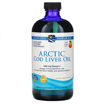 Nordic Naturals Arctic, жир печени арктической трески, со вкусом апельсина, 437 мл (16 жидких унций)