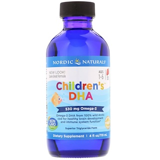 Nordic Naturals, Children's DHA, Strawberry, 4 fl oz (119 ml)